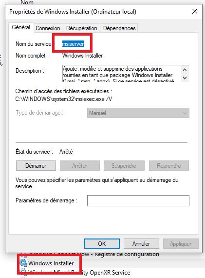activer désactiver Windows Installer