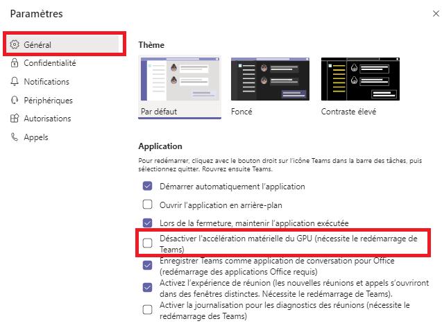 Microsoft Teams mémoire processeur