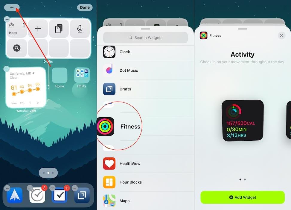 Ajouter un widget de fitness iOS 14