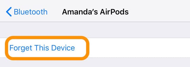 oubliez cet appareil pour les AirPods sur iPhone Bluetooth
