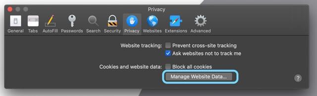 Safari sur Mac Gérer les données du site Web