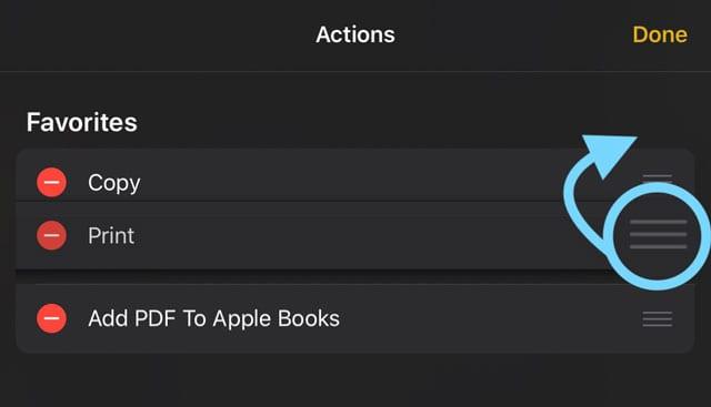 déplacer l'impression vers vos feuilles de partage actions favorites iOS 13 et IPadOS