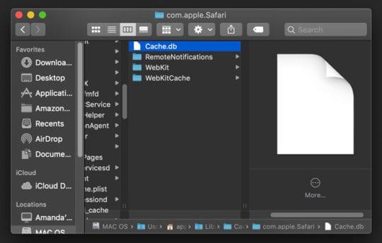 Base de données de fichiers de cache Safari sur Mac