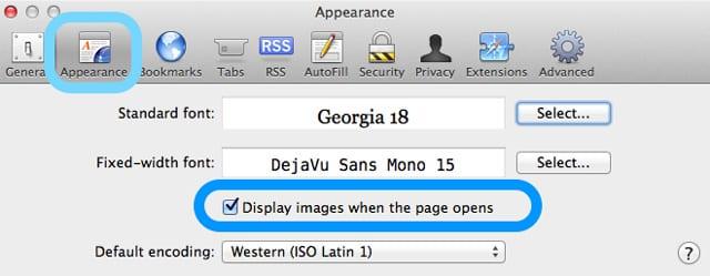 safari mac affiche des images à l'ouverture de la page