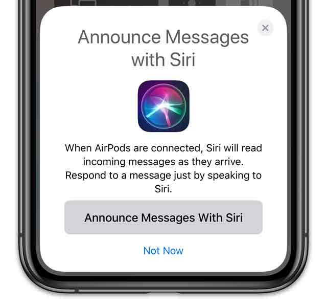 configurer vos AirPods avec annonce avec Siri