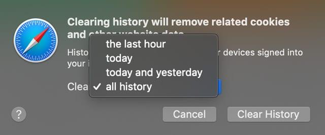 Choisissez à quelle distance vous voulez que votre historique de navigation soit effacé dans Mac Safari