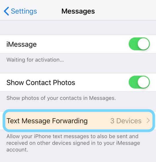 Transfert de message texte de l'application de messagerie iPhone