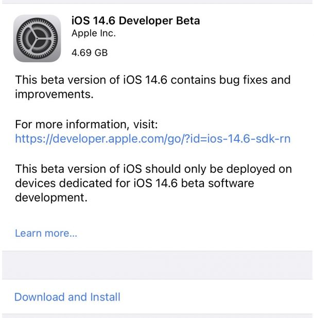 iOS 14.6 bêta