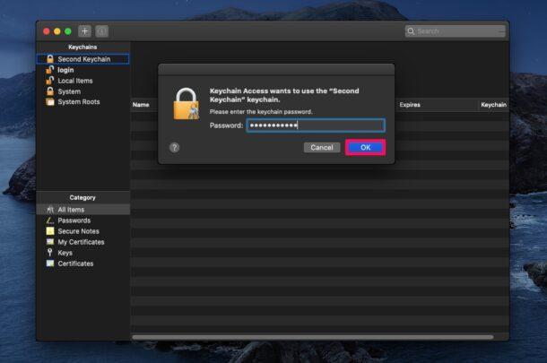 Comment changer le mot de passe du trousseau sur Mac