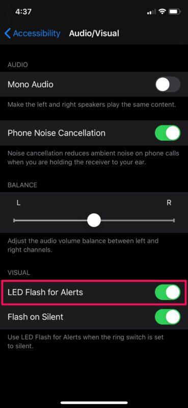 Comment activer les notifications flash LED sur iPhone