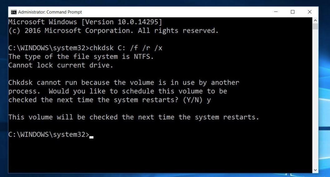 vérifier le disque pour les erreurs windows 10