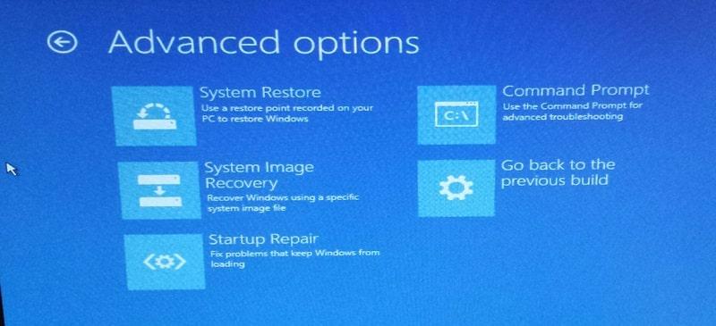 Options avancées Windows 10