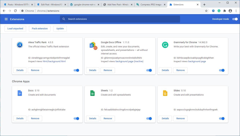 Désactiver les extensions Chrome