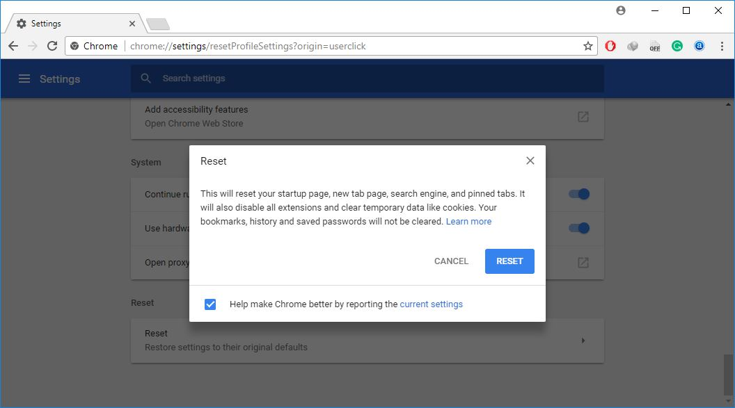 Réinitialiser le navigateur Chrome