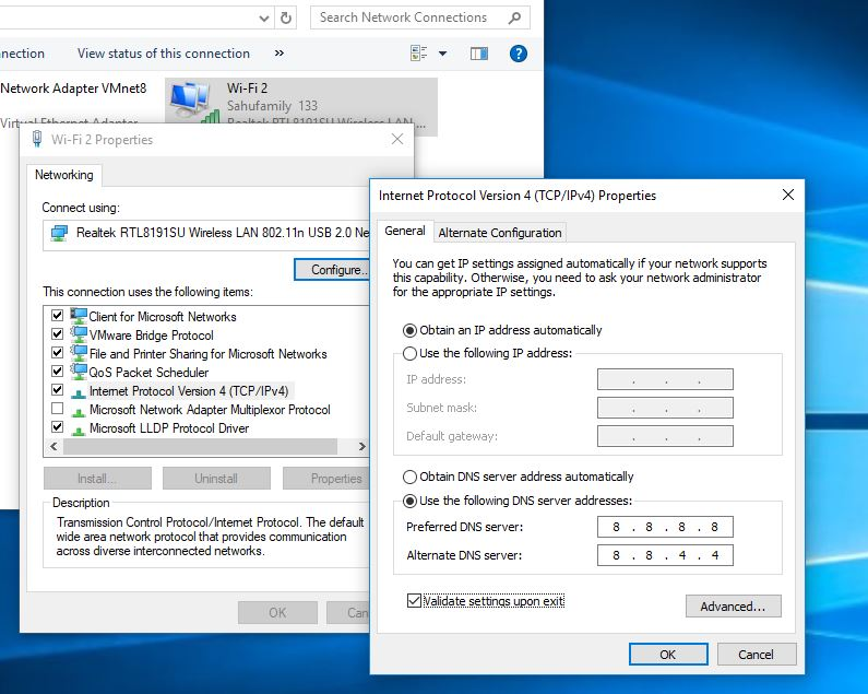 Modifier l'adresse du serveur DNS dans Windows 10