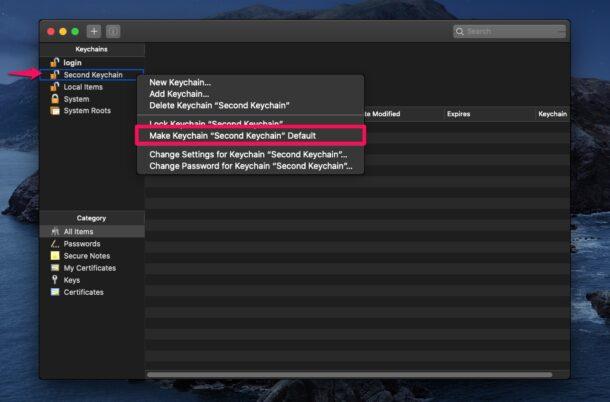 Comment changer le trousseau par défaut sur Mac