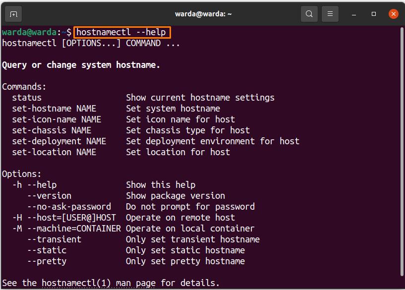 Comment définir le nom d'hôte à l'aide de la commande Hostnamectl?