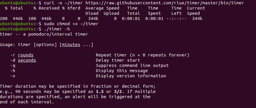 Application Countdown Timer pour Ubuntu