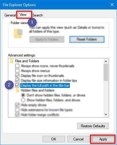 fenêtres d'options de l'explorateur de fichiers