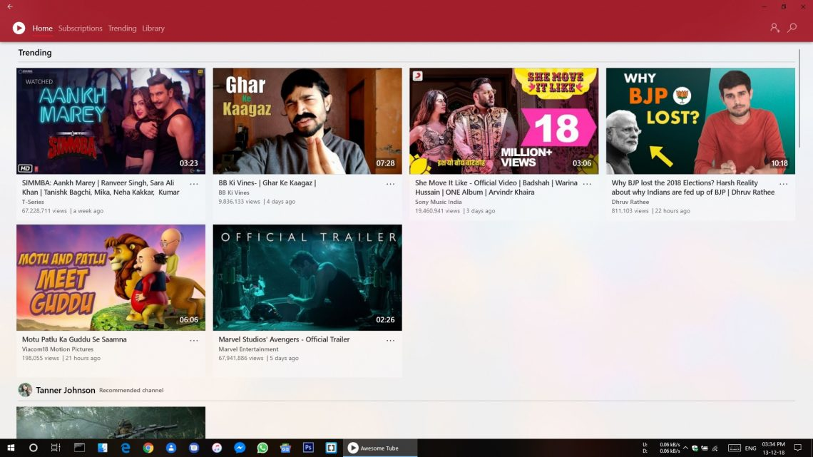 Impressionnant Tube app Windows 10