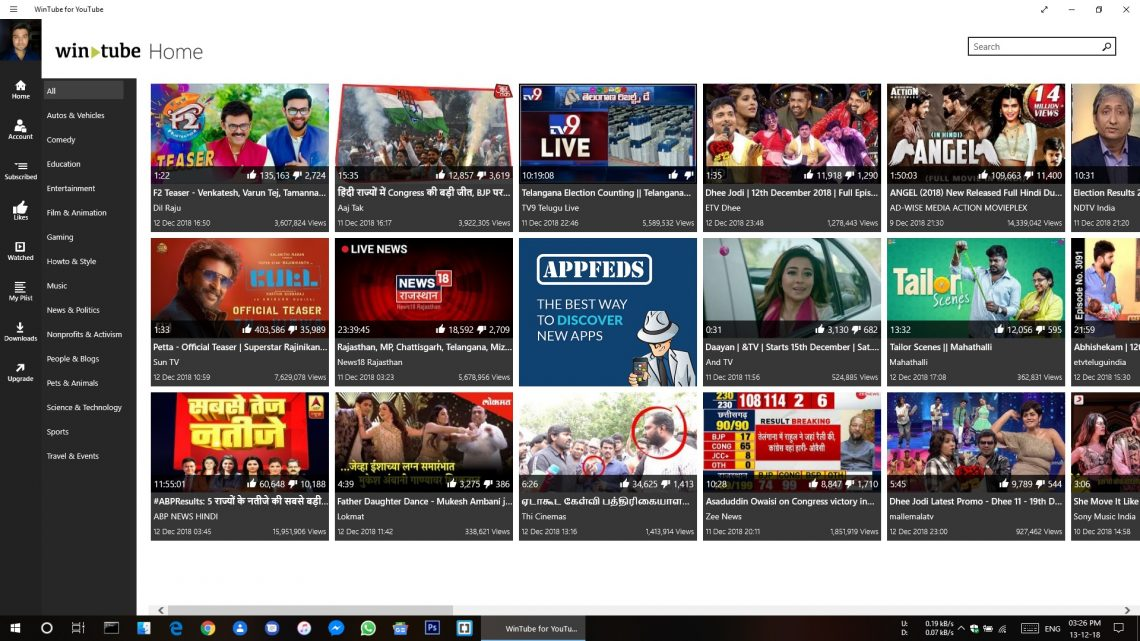 Application WinTube pour YouTube