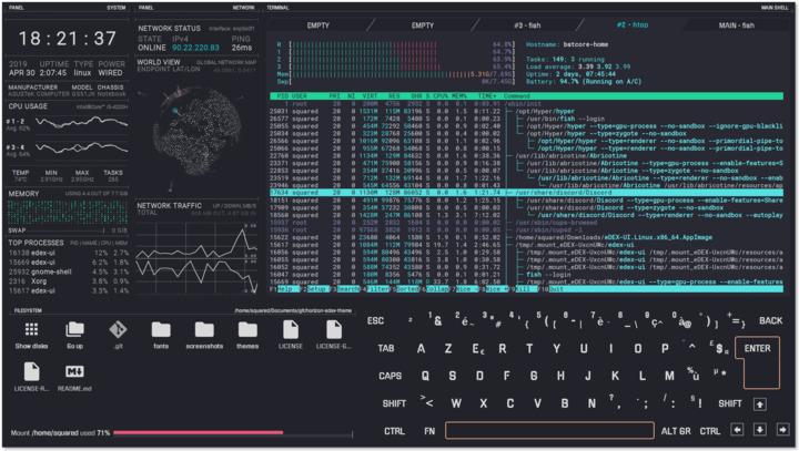 Émulateur de terminal de science-fiction eDEX-UI