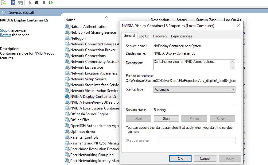 Service de pilote d'affichage NVIDIA