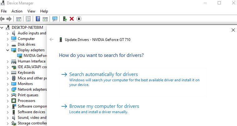 Mettre à jour le pilote graphique NVIDIA
