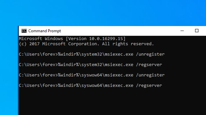Réenregistrer le service Microsoft Installer