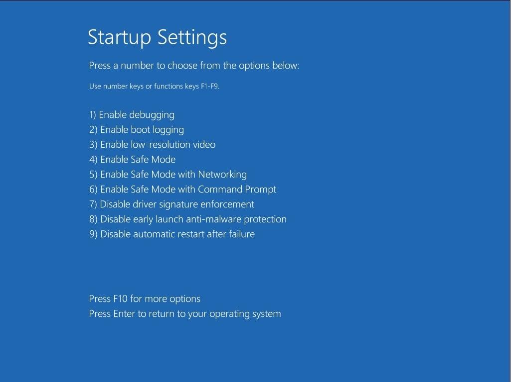 Mode sans échec de Windows 10