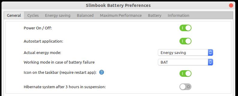 Préférences de la batterie Slimbook