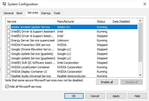 Cacher tous les services Microsoft