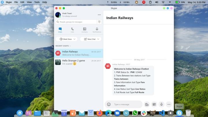 Application d'appel Skype Linux
