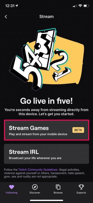 Comment diffuser des jeux iPhone sur Twitch