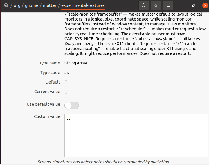 échelle fractionnée sur Ubuntu